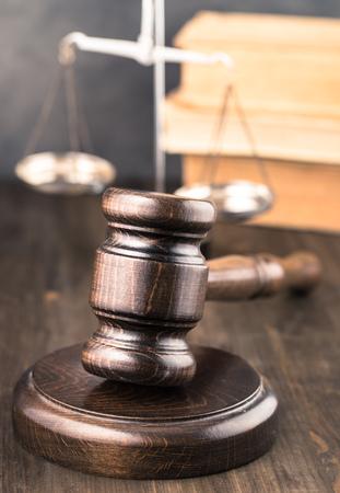 gavel: Wooden gavel on table vertical