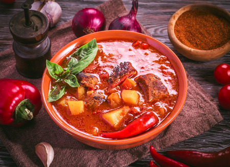 Bowl of goulash. Traditional hungarian meal.