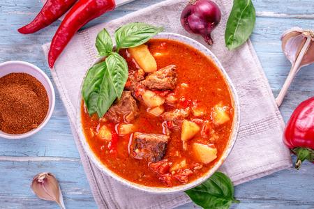 빛 시안 색 배경에 굴 라시의 그릇입니다. 전통적인 헝가리어 식사 - 쇠고기 스튜. 톤
