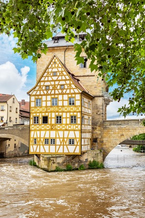 Old Town of Bamberg in middle of Regnitz river