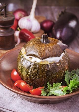 round: Baked veggie round squash Stock Photo