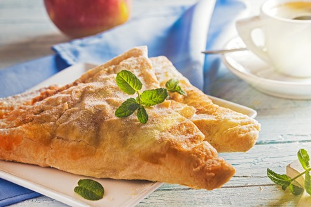 danish puff pastry: Freshly baked apple turnovers Stock Photo