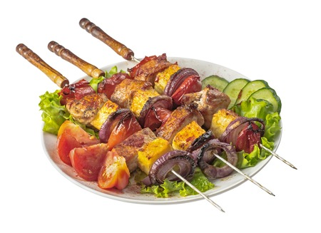 cucumbers: Pork skewers isolated