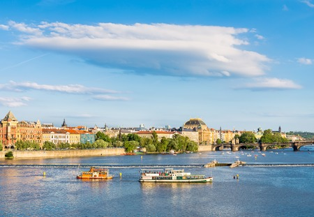 Tourist ships on Vltava river
