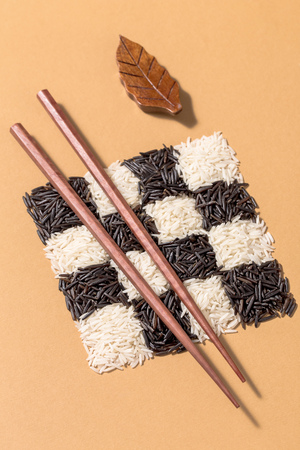 Black and white rice in a checkerboard pattern