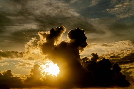 Beautiful sky with the clouds on sunset or sunrise