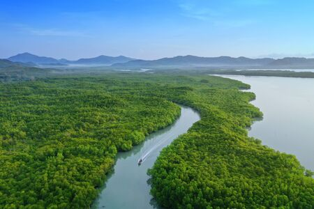 Top View Tropical Island , Aerial view island green forest at Phang Nga Bay. Stock Photo
