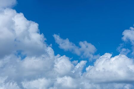 White cloud on blue sky on day time for background