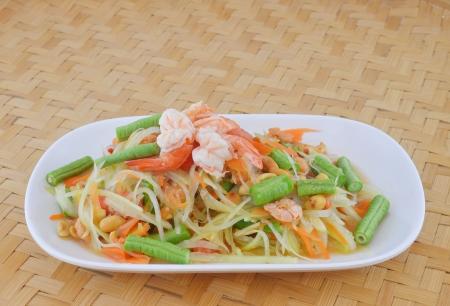 Comida tailandesa de la ensalada de papaya verde Foto de archivo