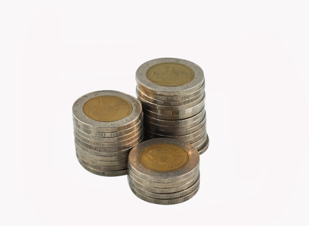 Coins stacked  Stock Photo
