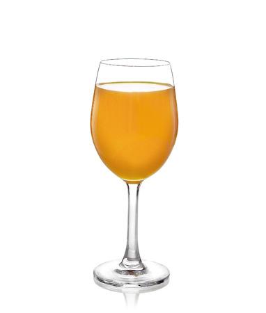orange juice glass with white background