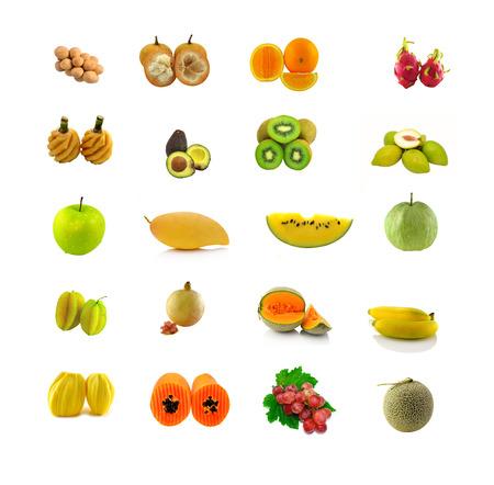 Mezclas de frutas con blanco Foto de archivo