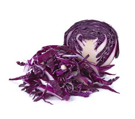 Sliced of purple cauliflower is vegetable  on white background