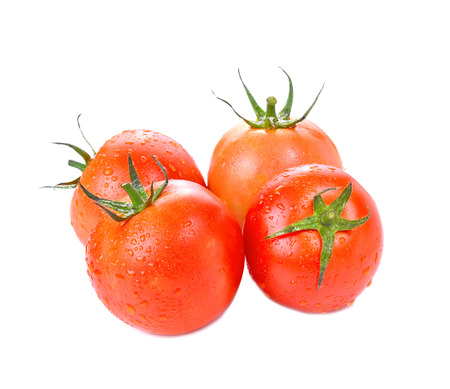 Tomato with  isolated on white background