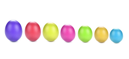 colourful dyed eggs on white background