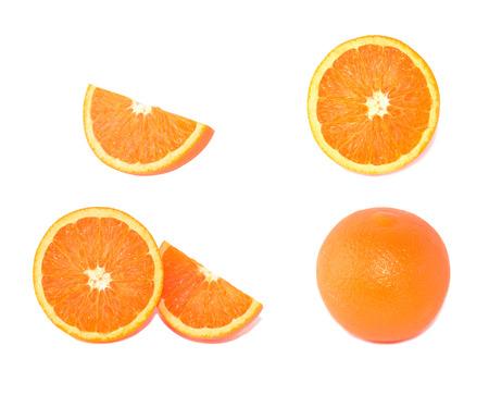 Orange circular pieces on white background