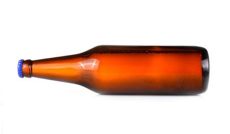 horizontally: Beer bottles horizontally isolated on white background Stock Photo