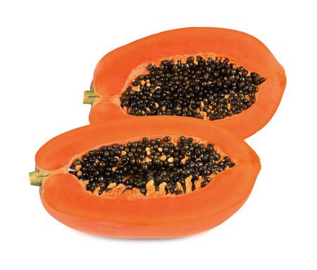 Papaya aislados sobre fondo blanco  Foto de archivo