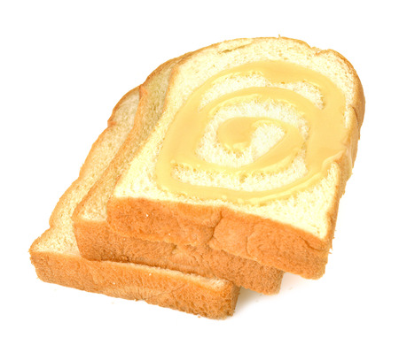 condensed: Bread, butter, cream, sweetened condensed milk White background