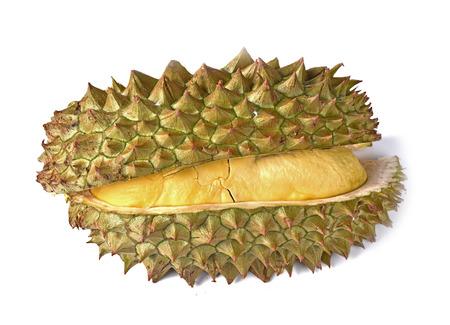 Durian, rey de frutas aisladas sobre fondo blanco.