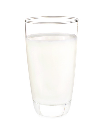 pasteurized: Glass milk isolated with white on background
