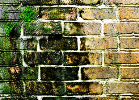 weathered: Weathered stained old brick wall background