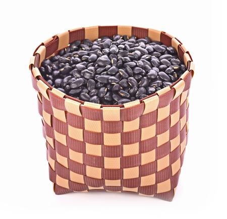 Black Eyed Peas in basket isolated white background