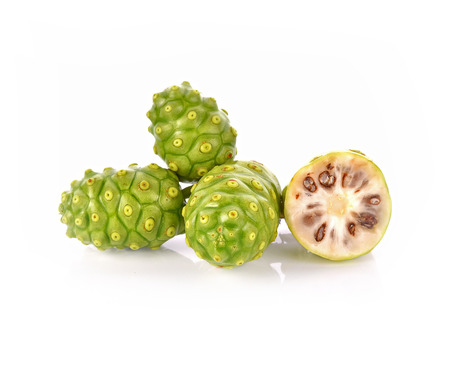 noni fruit: Noni fruit on white background Stock Photo