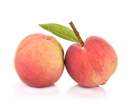 Fresh peach on white background Stock Photo