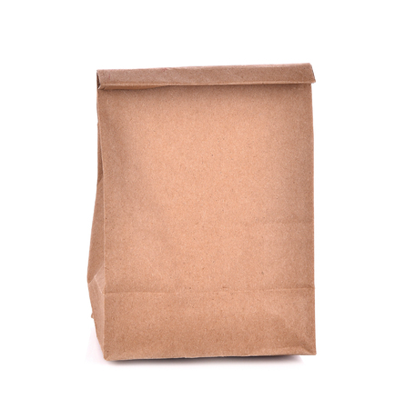 paper fold: Brown paper bags isolated white background