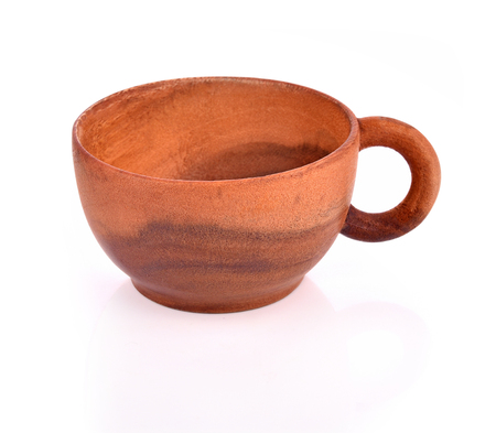 Coffee wooden cup  empty on white background Stock Photo