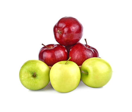 Apples red and  green isolated white background Stock Photo