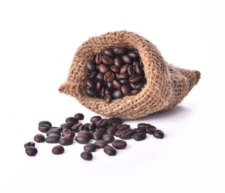 Sack of coffee beans isolated white background Stock Photo