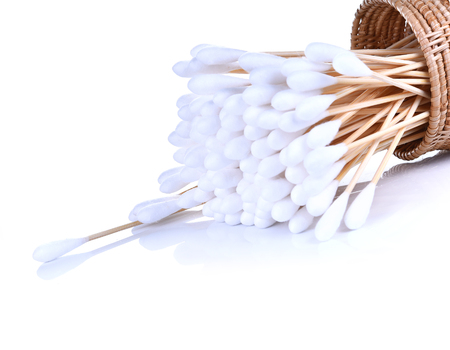 Wood, cotton buds isolated on white background