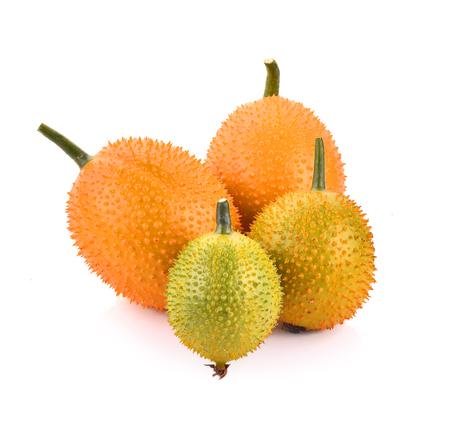 bitter fruit: Gac fruit, Baby Jackfruit, Spiny Bitter Gourd, Sweet Grourd or Cochinchin Gourd Stock Photo