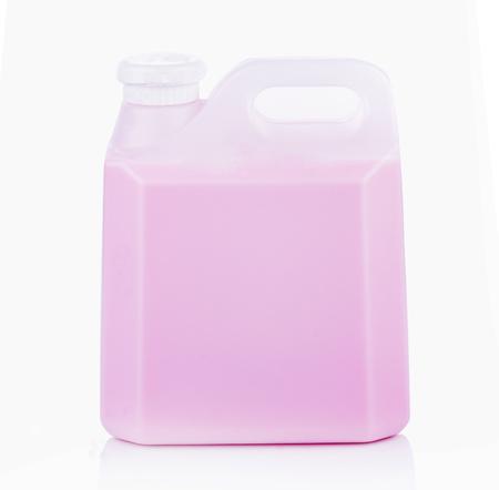 skim: A gallon of milk, strawberry on white background Stock Photo