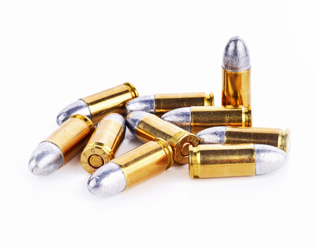 9mm ammo: Bullet isolated on white background
