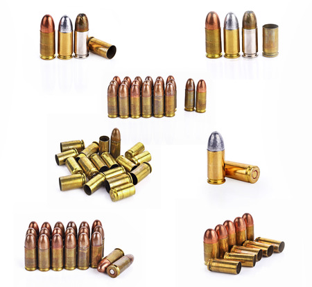 38 caliber: Bullet, bullet casings isolated on white background