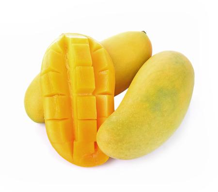 mongo: Yellow mongo sweet on white background Stock Photo
