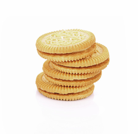 filled: sandwich cookies with cream on white background