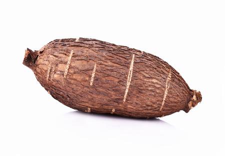 Cassava root on white background Stock Photo