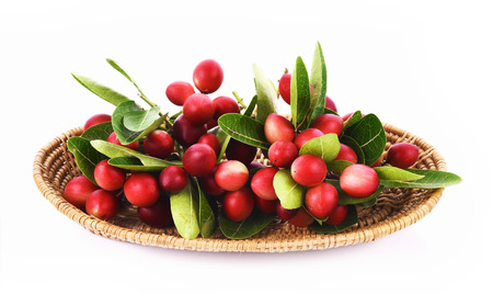 crimson colour: Karanda basket on white background