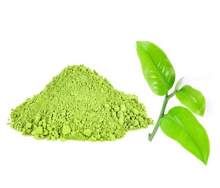 maccha: Green tea powder isolated on white background