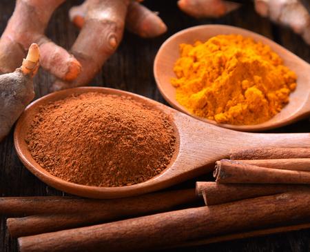 Cinnamon powder in spoon wood on table