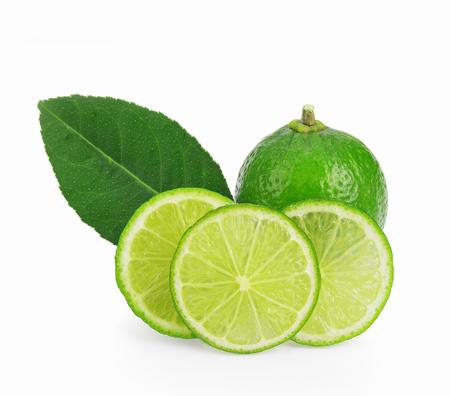Slice of fresh lime isolated on white background