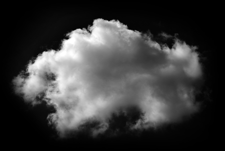 White clouds isolated on black background
