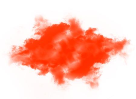 Clouds or Orange smoke isolated on white background