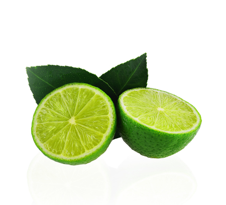 Slice of lime isolated  on white background