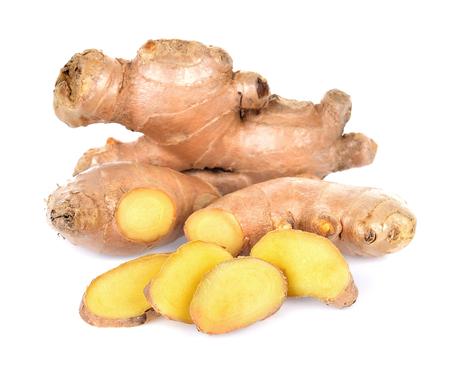 Ginger slice fresh isolated on white background
