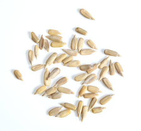 Sunflower seeds, peeled isolated on white background Stock Photo